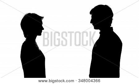 Silhouette Of Man And Woman Stand Opposite, Equal Rights, Social Advertisement