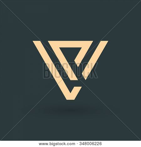 Letters Vp Or Pv, Geometrical Triangle Or Arrow In Two Parts Logo Design. Technology Business Identi