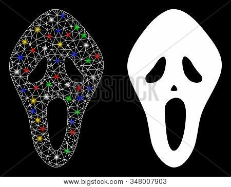 Flare Mesh Scary Mask Icon With Glitter Effect. Abstract Illuminated Model Of Scary Mask. Shiny Wire