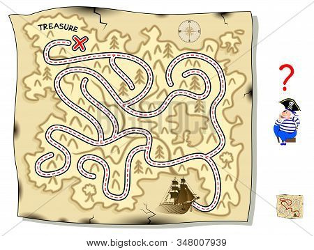 Logic Puzzle Game With Labyrinth For Children And Adults. Help Pirate Find Way On The Treasure Islan