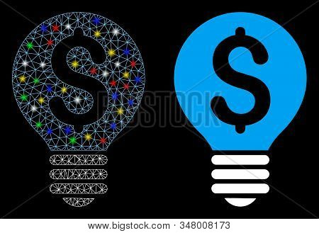 Glowing Mesh Business Patent Bulb Icon With Glare Effect. Abstract Illuminated Model Of Business Pat