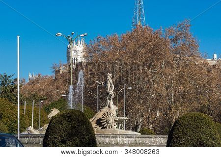 Madrid, Spain - January 22, 2018: Neptune Fountain And Thyssen Bornemisza Museum In City Of Madrid,