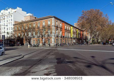 Madrid, Spain - January 22, 2018: Thyssen Bornemisza Museum In City Of Madrid, Spain