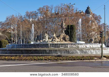 Madrid, Spain - January 22, 2018: Neptune Fountain And Thyssen Bornemisza Museum In City Of Madrid,