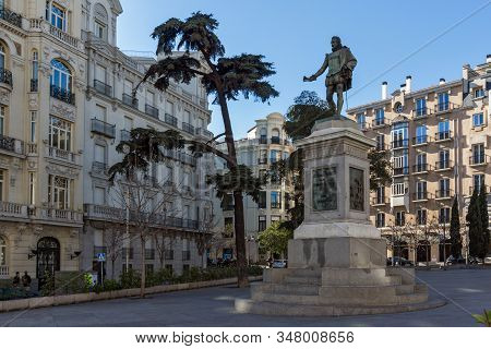 Madrid, Spain - January 22, 2018: Statue Of Miguel De Cervantes In City Of Madrid, Spain