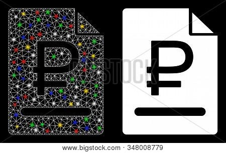 Glowing Mesh Rouble Bill Icon With Glare Effect. Abstract Illuminated Model Of Rouble Bill. Shiny Wi