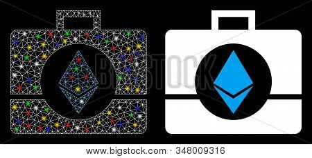 Bright Mesh Ethereum Crystal Case Icon With Sparkle Effect. Abstract Illuminated Model Of Ethereum C
