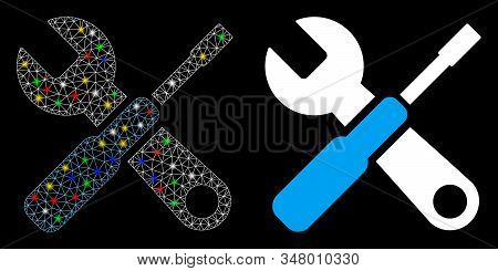 Bright Mesh Tuning Tools Icon With Glitter Effect. Abstract Illuminated Model Of Tuning Tools. Shiny