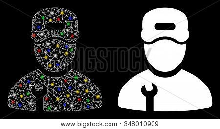 Flare Mesh Repairman Icon With Glow Effect. Abstract Illuminated Model Of Repairman. Shiny Wire Fram