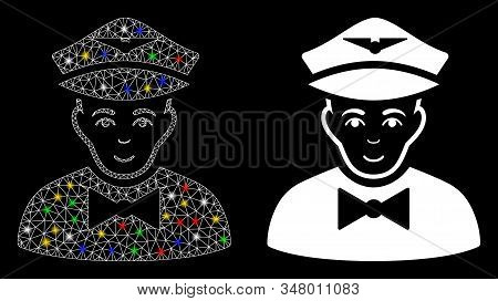 Bright Mesh Airline Steward Icon With Glow Effect. Abstract Illuminated Model Of Airline Steward. Sh