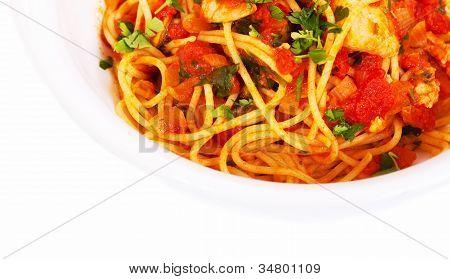 Spaghetti Tomato Seafood Dish Top View