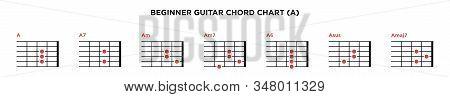 Basic Guitar Chord Chart Icon Vector Template. A Key Guitar Chord.