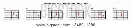 Basic Guitar Chord Chart Icon Vector Template. E Key Guitar Chord.
