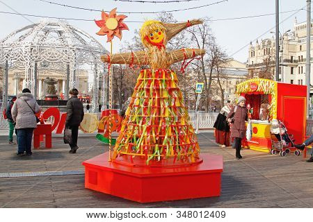 Moscow, Russia - March 07, 2019: Russian Shrovetide Doll Made Of Straw And Decorated With Ribbons At