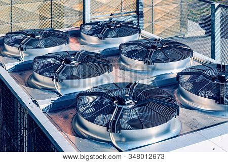 Cooling Industrial Air Conditioning Units Closeup Bluish Background