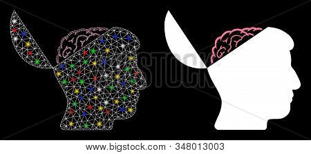 Flare Mesh Open Mind Icon With Glare Effect. Abstract Illuminated Model Of Open Mind. Shiny Wire Fra