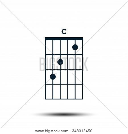 C, Basic Guitar Chord Chart Icon Vector Template