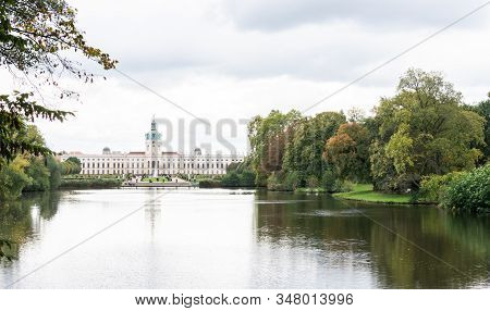Berlin, Germany- October 5, 2019: View Of The Charlottenburg Palace And The Karpfenteich Pond, A Dis