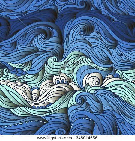 Seamless Marine Pattern. Abstract Water Background With Curly Hand-drawn Lines. Blue Waves And Tides