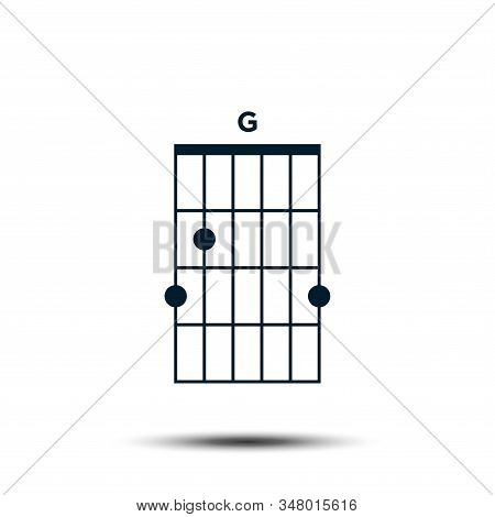 G, Basic Guitar Chord Chart Icon Vector Template