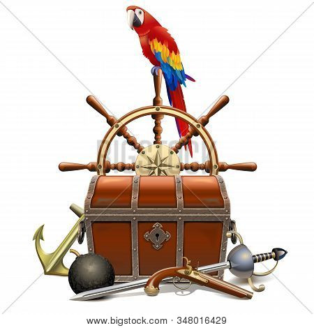 Vector Treasure Hunt Concept With Parrot Isolated On White Background
