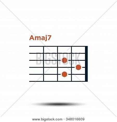 Amaj7, Basic Guitar Chord Chart Icon Vector Template