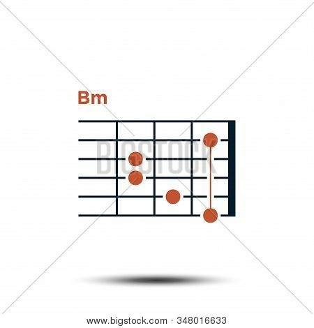 Bm, Basic Guitar Chord Chart Icon Vector Template