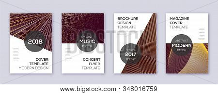 Modern Brochure Design Template Set. Gold Abstract Lines On Bordo Background. Awesome Brochure Desig