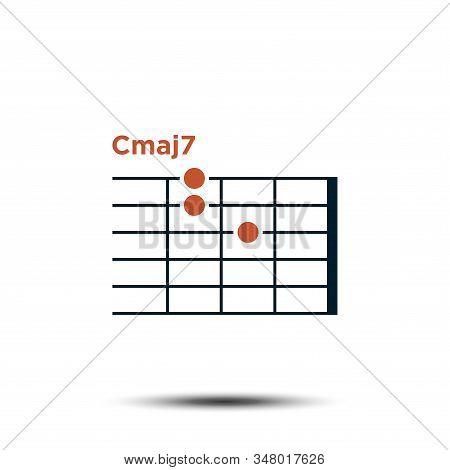 Cmaj7, Basic Guitar Chord Chart Icon Vector Template