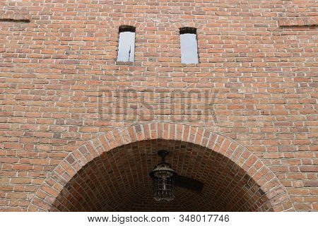 Brick Arch In Barbican, Fortified Outpost  In Warsaw, Poland.