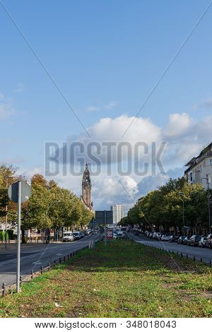 Berlin, Germany- October 5, 2019: Otto-suhr-allee Street, View Of Charlottenburg Town Hall From The