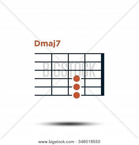 Dmaj7, Basic Guitar Chord Chart Icon Vector Template