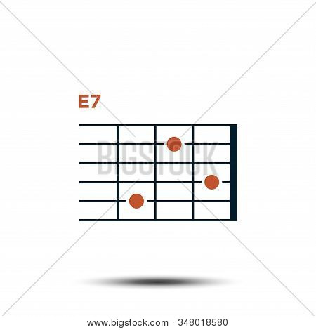 E7, Basic Guitar Chord Chart Icon Vector Template
