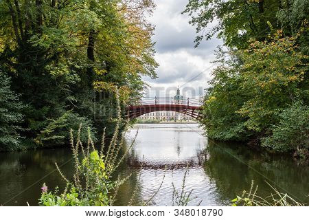 Berlin, Germany- October 5, 2019: View Of The Charlottenburg Palace And The Bridge Over The Karpfent
