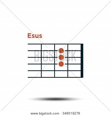 E Sus, Basic Guitar Chord Chart Icon Vector Template