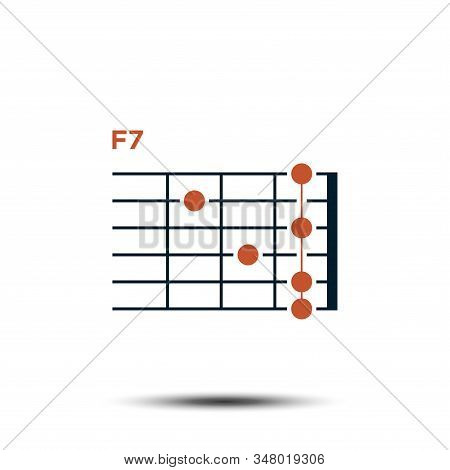 F7, Basic Guitar Chord Chart Icon Vector Template