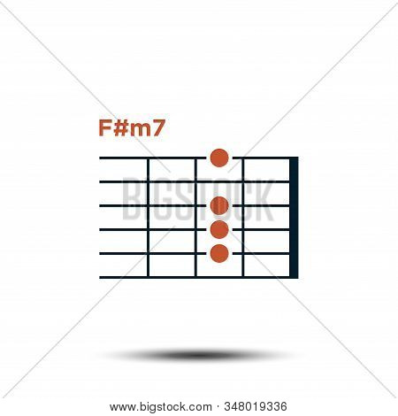 F#m7, Basic Guitar Chord Chart Icon Vector Template