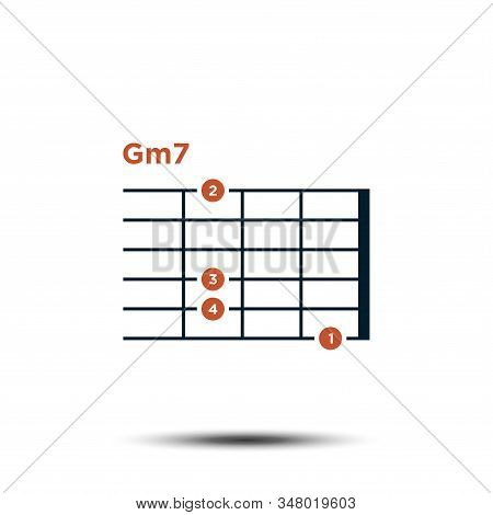 Gm7, Basic Guitar Chord Chart Icon Vector Template