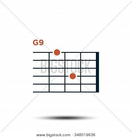 G9, Basic Guitar Chord Chart Icon Vector Template