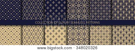 Set Of Vector Seamless Luxury Patterns. Collection Of Ornamental Patterns In Navy Blue And Gold Colo