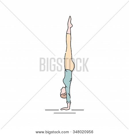 Adho Mukha Vrkshasana Handstand Color Line Icon. Forms Part Of The Arm Balance Sequence Which Requir