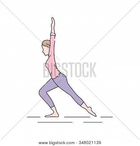 Virabhadrasana Hero Pose Color Line Icon. This Pose Strengthens The Arms, Shoulders, Thighs And Back