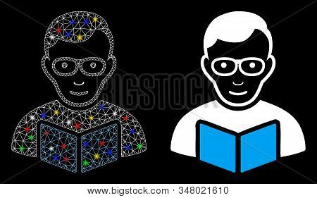 Glossy Mesh Reader Student Icon With Glare Effect. Abstract Illuminated Model Of Reader Student. Shi