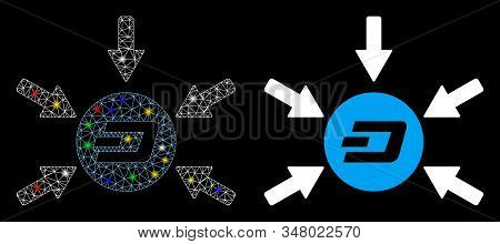 Flare Mesh Dash Coin Income Arrows Icon With Glare Effect. Abstract Illuminated Model Of Dash Coin I