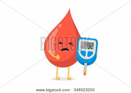 Cute Cartoon Sick Blood Drop Character With Glucometer. Diabetic Glucose Measuring Device With Indic