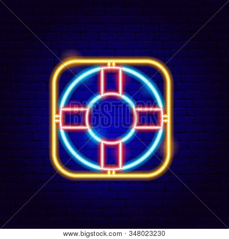 Lifebuoy Neon Sign. Vector Illustration Of Business Promotion.