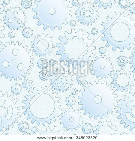 Vector Drawing Mechanical Cogwheel Seamless Pattern. Light Blue Gear And Cog Site Background. Collec