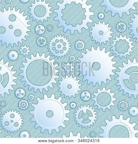 Vector Drawing Mechanical Cogwheel Seamless Pattern. Lined Blue Gear And Cog Site Background. Collec
