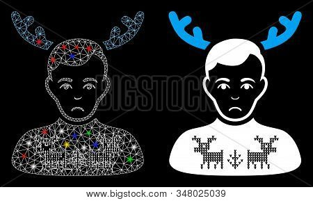 Bright Mesh Deers Pullover Horned Husband Icon With Glitter Effect. Abstract Illuminated Model Of De