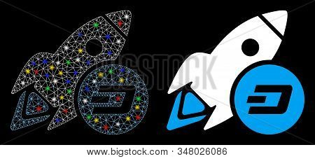 Glossy Mesh Dash Rocket Icon With Sparkle Effect. Abstract Illuminated Model Of Dash Rocket. Shiny W